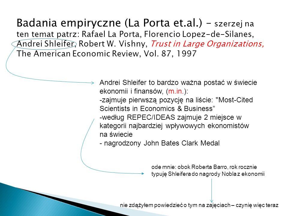 Badania empiryczne (La Porta et.al.) – szerzej na ten temat patrz: Rafael La Porta, Florencio Lopez-de-Silanes, Andrei Shleifer, Robert W. Vishny, Tru
