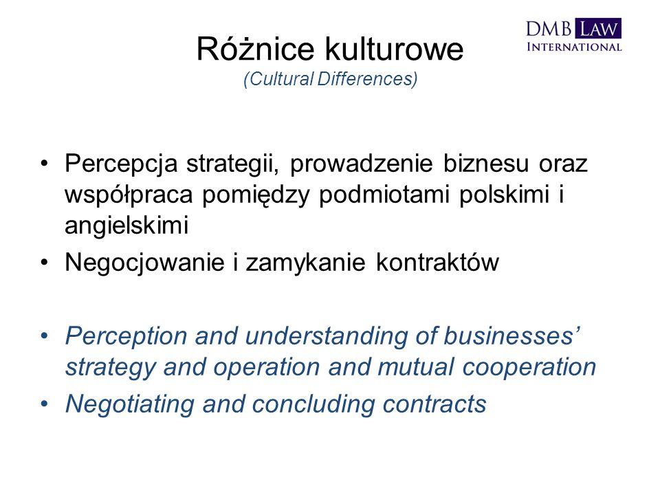 Różnice kulturowe (Cultural Differences) Percepcja strategii, prowadzenie biznesu oraz współpraca pomiędzy podmiotami polskimi i angielskimi Negocjowanie i zamykanie kontraktów Perception and understanding of businesses' strategy and operation and mutual cooperation Negotiating and concluding contracts