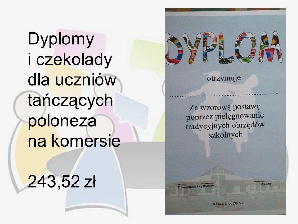 Dyplomy i czekolady dla uczniów tańczących poloneza na komersie 243,52 zł