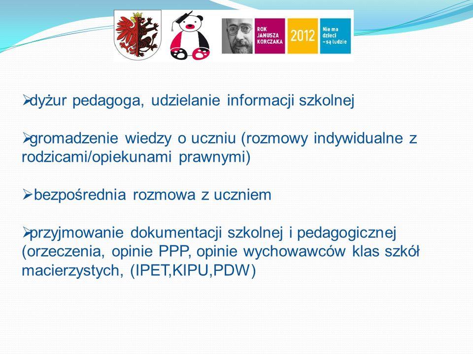  dyżur pedagoga, udzielanie informacji szkolnej  gromadzenie wiedzy o uczniu (rozmowy indywidualne z rodzicami/opiekunami prawnymi)  bezpośrednia rozmowa z uczniem  przyjmowanie dokumentacji szkolnej i pedagogicznej (orzeczenia, opinie PPP, opinie wychowawców klas szkół macierzystych, (IPET,KIPU,PDW)