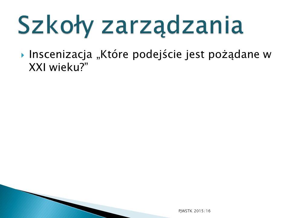 """ Inscenizacja """"Które podejście jest pożądane w XXI wieku?"""" PJWSTK 2015/16"""