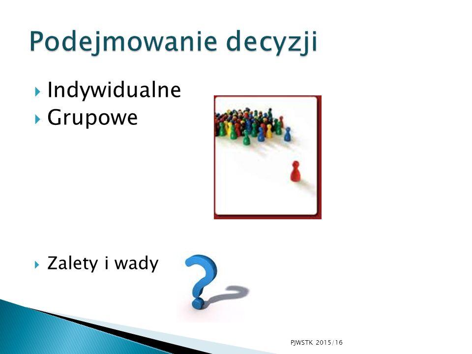  Indywidualne  Grupowe  Zalety i wady PJWSTK 2015/16