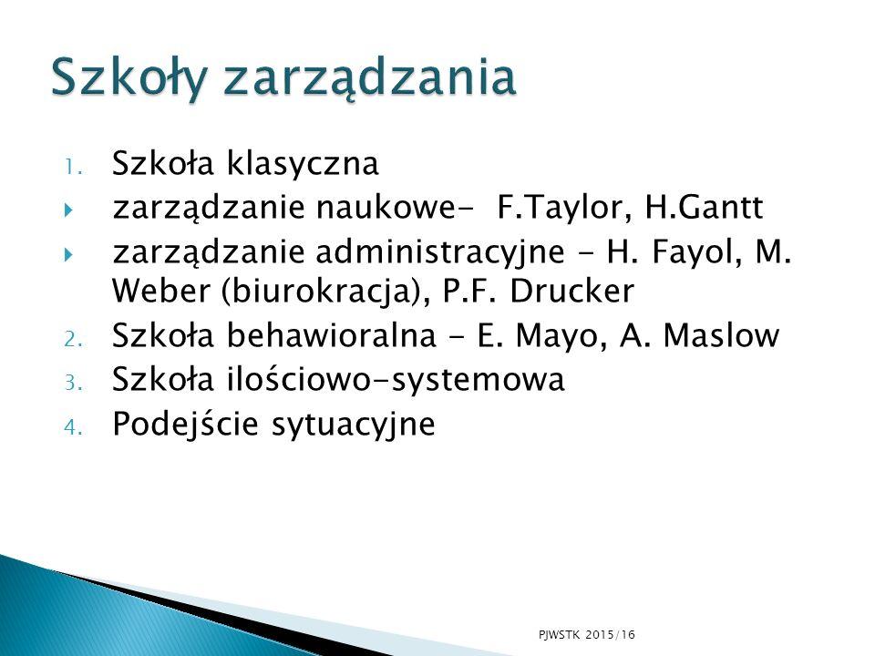 1. Szkoła klasyczna  zarządzanie naukowe- F.Taylor, H.Gantt  zarządzanie administracyjne - H. Fayol, M. Weber (biurokracja), P.F. Drucker 2. Szkoła