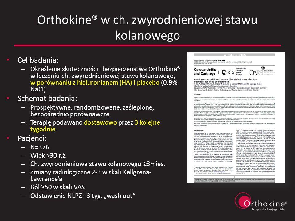 Orthokine® w ch. zwyrodnieniowej stawu kolanowego Cel badania: Cel badania: – Określenie skuteczności i bezpieczeństwa Orthokine® w leczeniu ch. zwyro