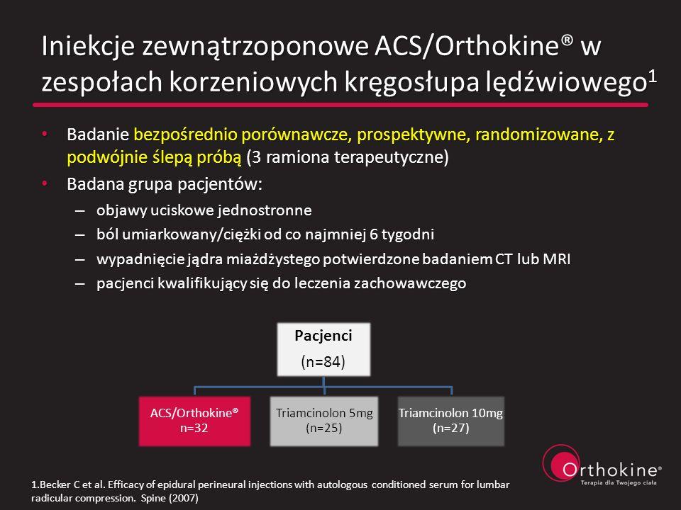 Iniekcje zewnątrzoponowe ACS/Orthokine® w zespołach korzeniowych kręgosłupa lędźwiowego 1 Badanie bezpośrednio porównawcze, prospektywne, randomizowan