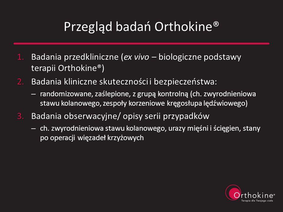 Przegląd badań Orthokine® 1.Badania przedkliniczne (ex vivo – biologiczne podstawy terapii Orthokine®) 2.Badania kliniczne skuteczności i bezpieczeńst