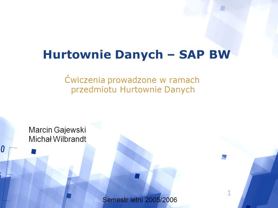 1 Hurtownie Danych – SAP BW Ćwiczenia prowadzone w ramach przedmiotu Hurtownie Danych Semestr letni 2005/2006 Marcin Gajewski Michał Wilbrandt