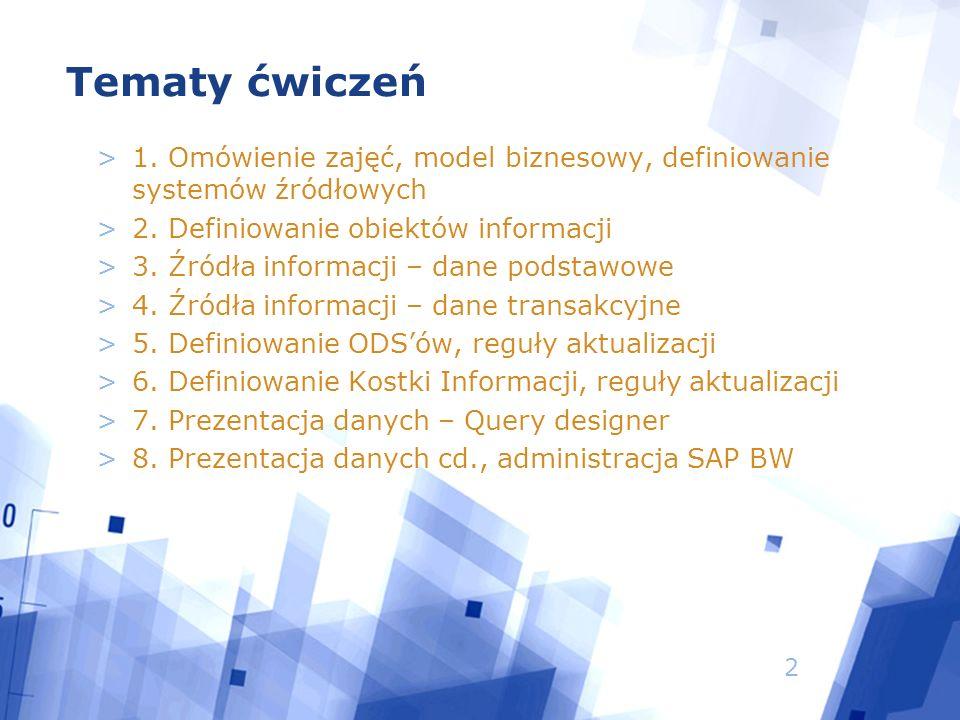 2 Tematy ćwiczeń >1. Omówienie zajęć, model biznesowy, definiowanie systemów źródłowych >2.