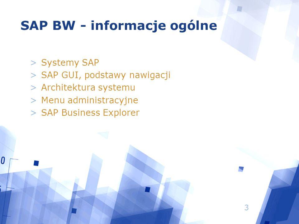 3 SAP BW - informacje ogólne >Systemy SAP >SAP GUI, podstawy nawigacji >Architektura systemu >Menu administracyjne >SAP Business Explorer