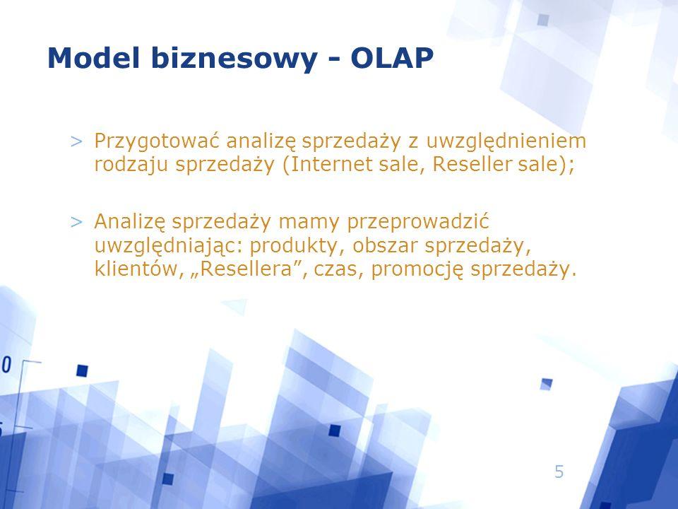 6 Model biznesowy – OLTP -> OLAP >Określenie niezbędnych danych – wybór pól >Przygotowanie danych do ekstrakcji: - przygotowanie tabel i pespektyw (baza danych) - przygotowanie struktury pliku płaskiego