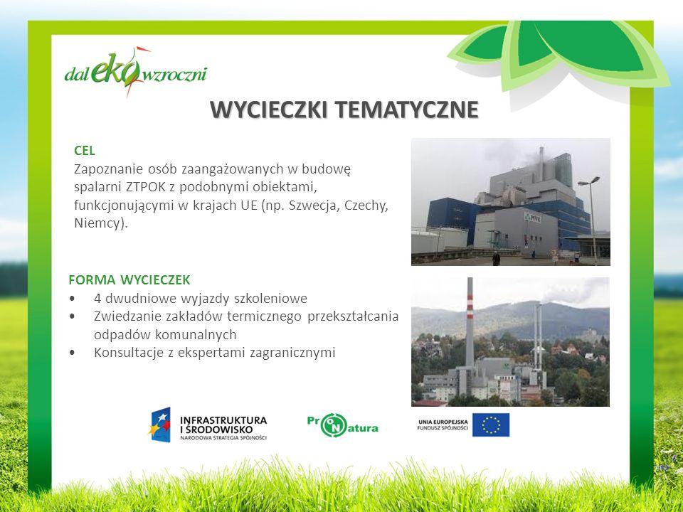 WYCIECZKI TEMATYCZNE CEL Zapoznanie osób zaangażowanych w budowę spalarni ZTPOK z podobnymi obiektami, funkcjonującymi w krajach UE (np.