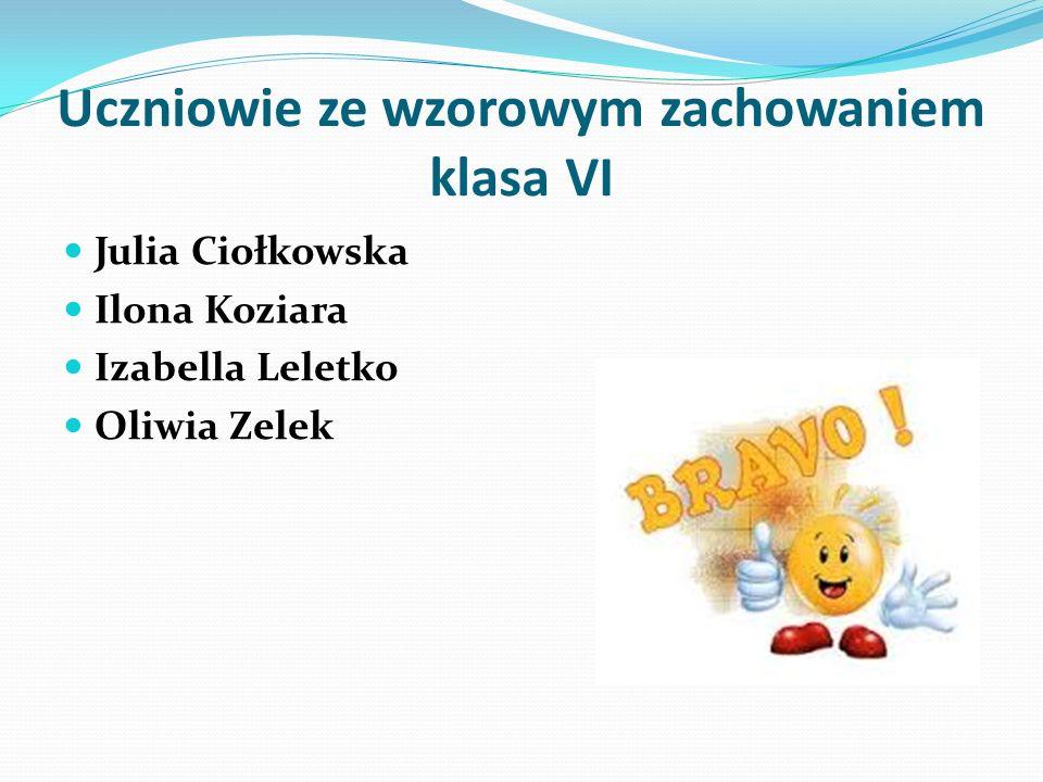 Uczniowie ze wzorowym zachowaniem klasa VI Julia Ciołkowska Ilona Koziara Izabella Leletko Oliwia Zelek