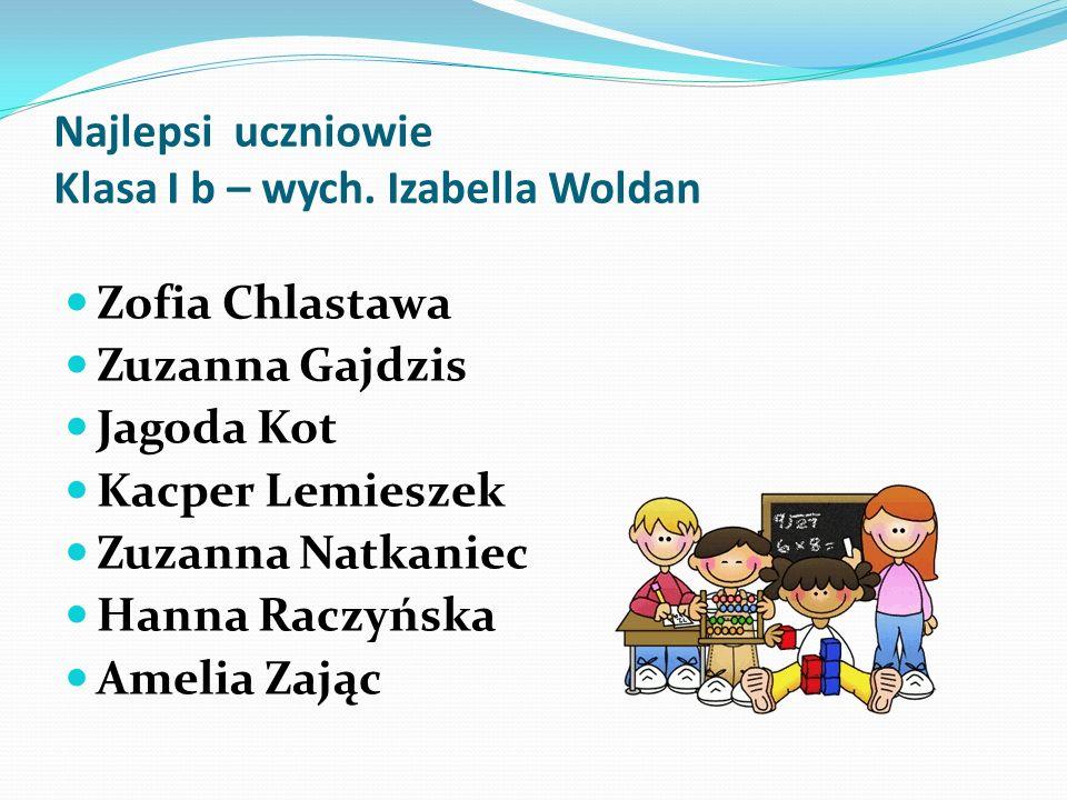 Najlepsi uczniowie Klasa I b – wych. Izabella Woldan Zofia Chlastawa Zuzanna Gajdzis Jagoda Kot Kacper Lemieszek Zuzanna Natkaniec Hanna Raczyńska Ame