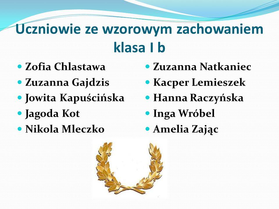 Uczniowie ze wzorowym zachowaniem klasa I b Zofia Chlastawa Zuzanna Gajdzis Jowita Kapuścińska Jagoda Kot Nikola Mleczko Zuzanna Natkaniec Kacper Lemi