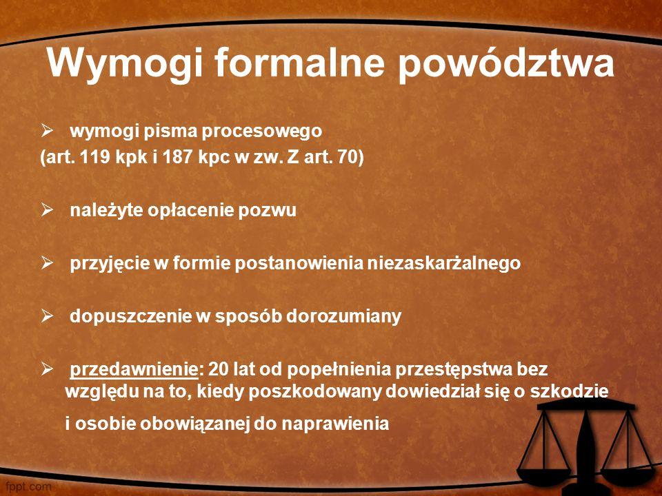 Wymogi formalne powództwa  wymogi pisma procesowego (art. 119 kpk i 187 kpc w zw. Z art. 70)  należyte opłacenie pozwu  przyjęcie w formie postanow