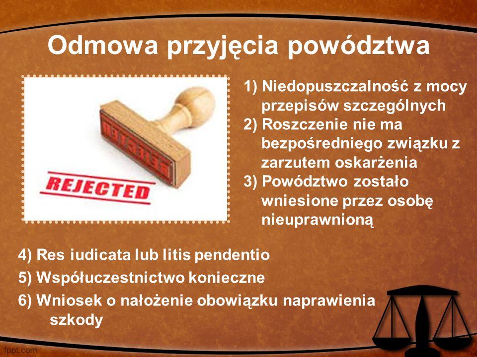 Odmowa przyjęcia powództwa 4) Res iudicata lub litis pendentio 5) Współuczestnictwo konieczne 6) Wniosek o nałożenie obowiązku naprawienia szkody 1) N