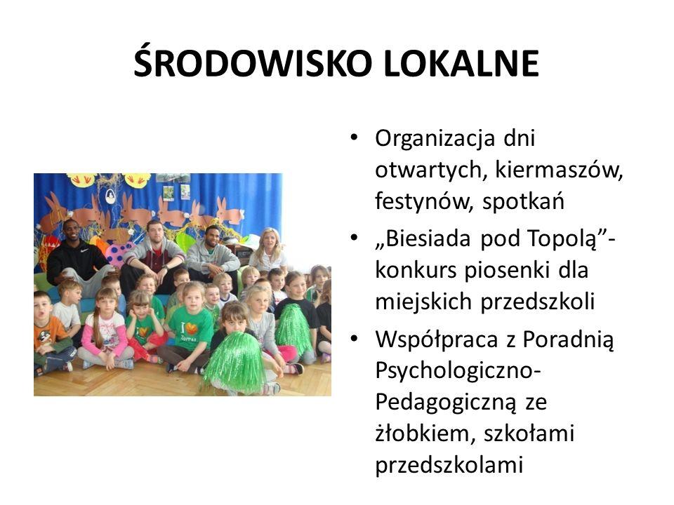 """ŚRODOWISKO LOKALNE Organizacja dni otwartych, kiermaszów, festynów, spotkań """"Biesiada pod Topolą""""- konkurs piosenki dla miejskich przedszkoli Współpra"""