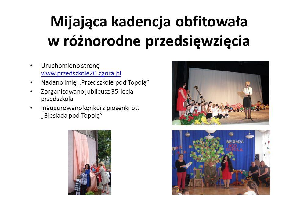 """Mijająca kadencja obfitowała w różnorodne przedsięwzięcia Uruchomiono stronę www.przedszkole20.zgora.pl www.przedszkole20.zgora.pl Nadano imię """"Przeds"""