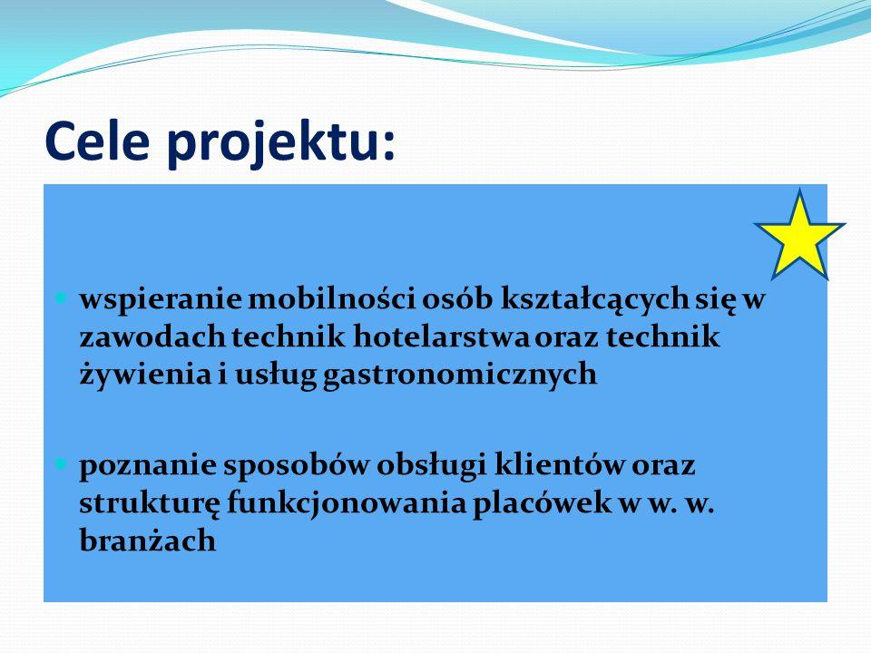 Cele projektu: wspieranie mobilności osób kształcących się w zawodach technik hotelarstwa oraz technik żywienia i usług gastronomicznych poznanie spos