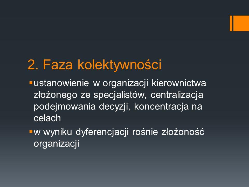 2. Faza kolektywności  ustanowienie w organizacji kierownictwa złożonego ze specjalistów, centralizacja podejmowania decyzji, koncentracja na celach
