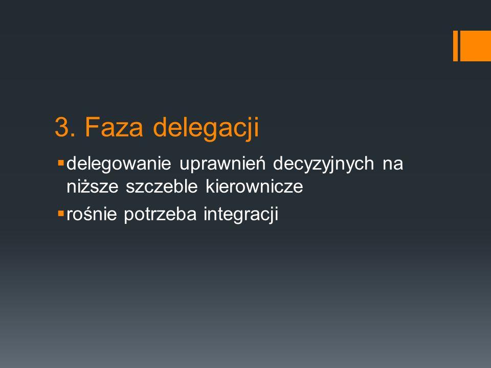 3. Faza delegacji  delegowanie uprawnień decyzyjnych na niższe szczeble kierownicze  rośnie potrzeba integracji