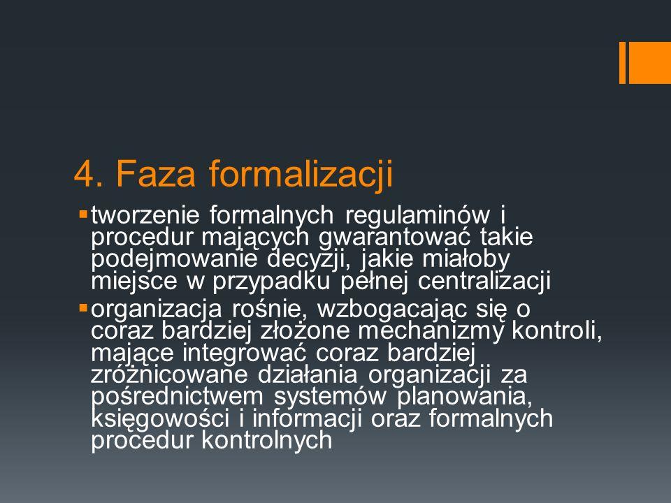 4. Faza formalizacji  tworzenie formalnych regulaminów i procedur mających gwarantować takie podejmowanie decyzji, jakie miałoby miejsce w przypadku