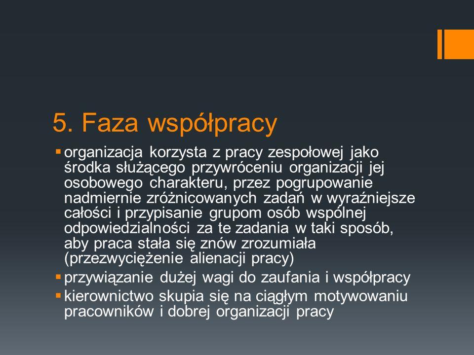 5. Faza współpracy  organizacja korzysta z pracy zespołowej jako środka służącego przywróceniu organizacji jej osobowego charakteru, przez pogrupowan