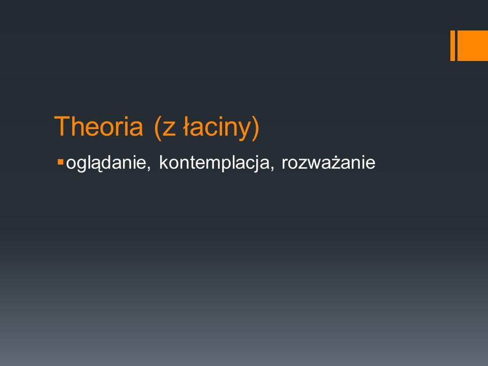 Theoria (z łaciny)  oglądanie, kontemplacja, rozważanie