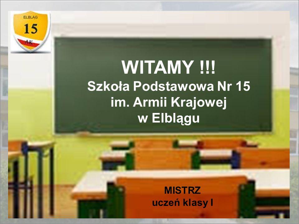 WITAMY !!! Szkoła Podstawowa Nr 15 im. Armii Krajowej w Elblągu MISTRZ uczeń klasy I