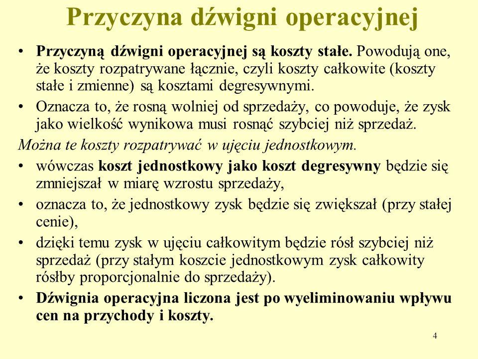 4 Przyczyna dźwigni operacyjnej Przyczyną dźwigni operacyjnej są koszty stałe.