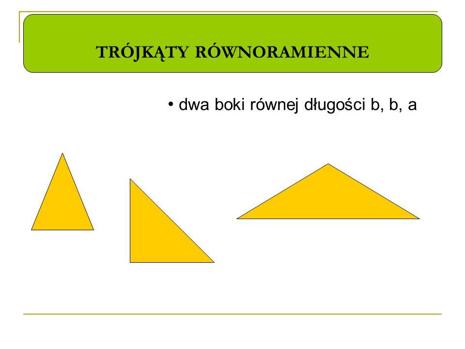 TRÓJKĄTY RÓWNORAMIENNE dwa boki równej długości b, b, a