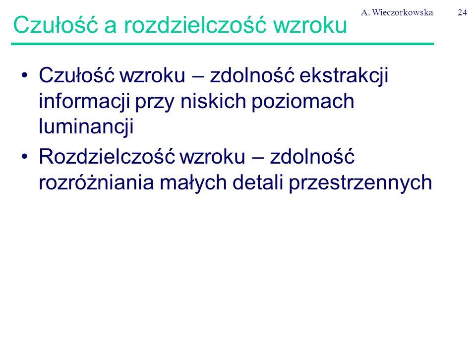 A. Wieczorkowska24 Czułość a rozdzielczość wzroku Czułość wzroku – zdolność ekstrakcji informacji przy niskich poziomach luminancji Rozdzielczość wzro