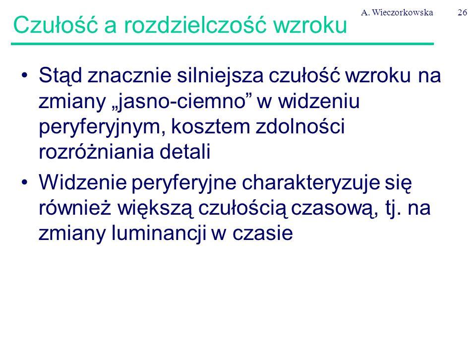 """A. Wieczorkowska26 Czułość a rozdzielczość wzroku Stąd znacznie silniejsza czułość wzroku na zmiany """"jasno-ciemno"""" w widzeniu peryferyjnym, kosztem zd"""