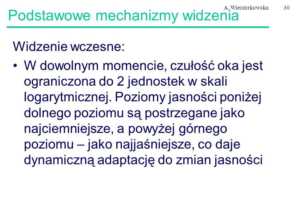 A. Wieczorkowska30 Podstawowe mechanizmy widzenia Widzenie wczesne: W dowolnym momencie, czułość oka jest ograniczona do 2 jednostek w skali logarytmi