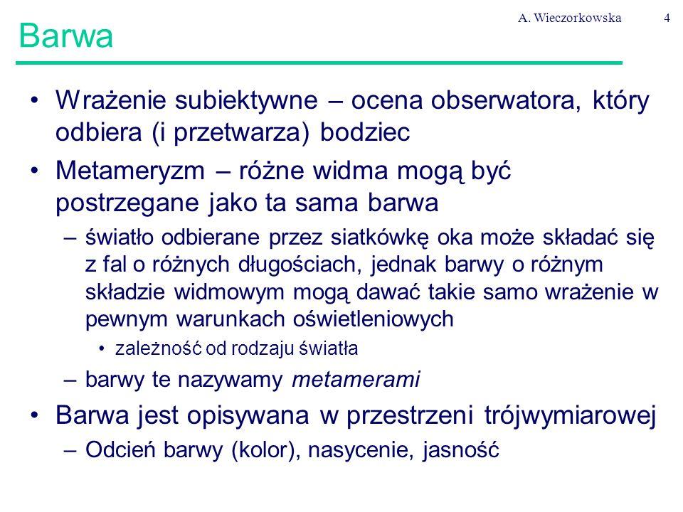 A. Wieczorkowska4 Barwa Wrażenie subiektywne – ocena obserwatora, który odbiera (i przetwarza) bodziec Metameryzm – różne widma mogą być postrzegane j