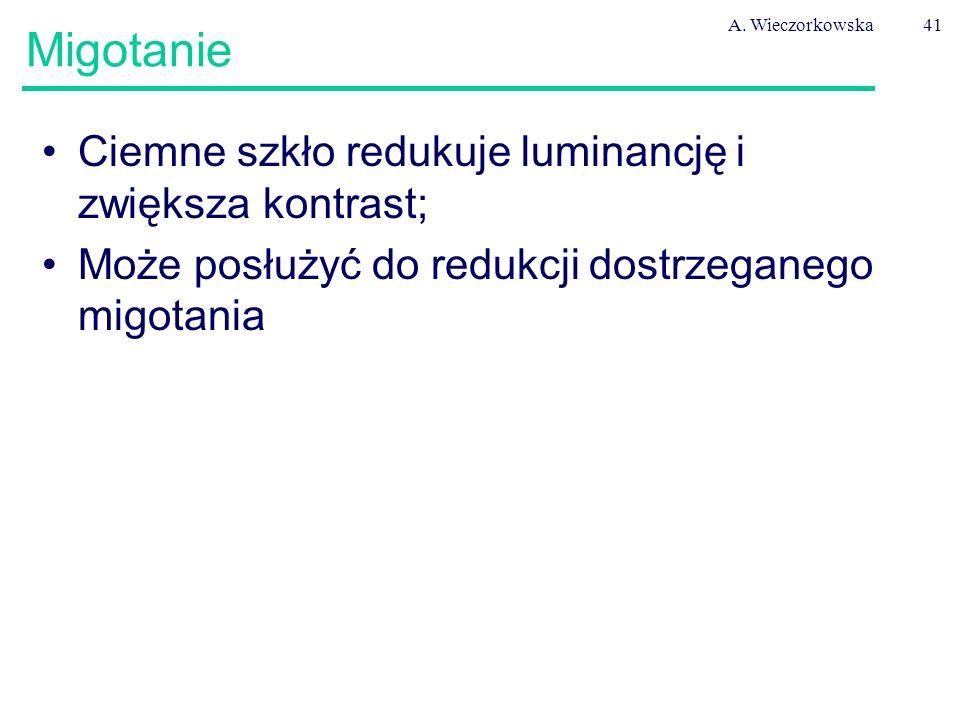 A. Wieczorkowska41 Migotanie Ciemne szkło redukuje luminancję i zwiększa kontrast; Może posłużyć do redukcji dostrzeganego migotania