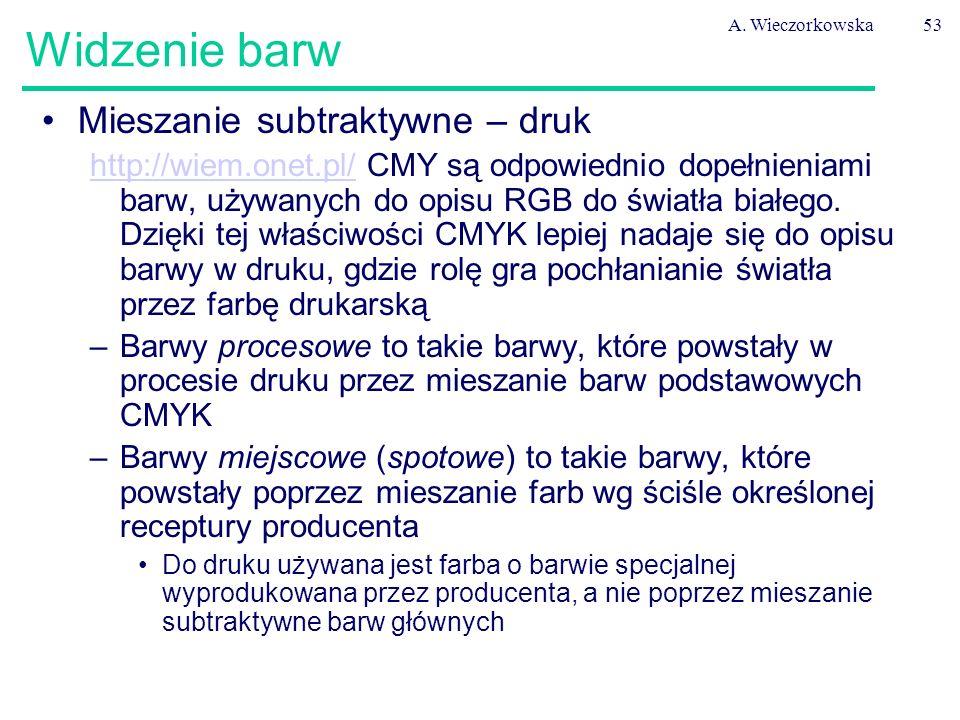A. Wieczorkowska53 Widzenie barw Mieszanie subtraktywne – druk http://wiem.onet.pl/http://wiem.onet.pl/ CMY są odpowiednio dopełnieniami barw, używany