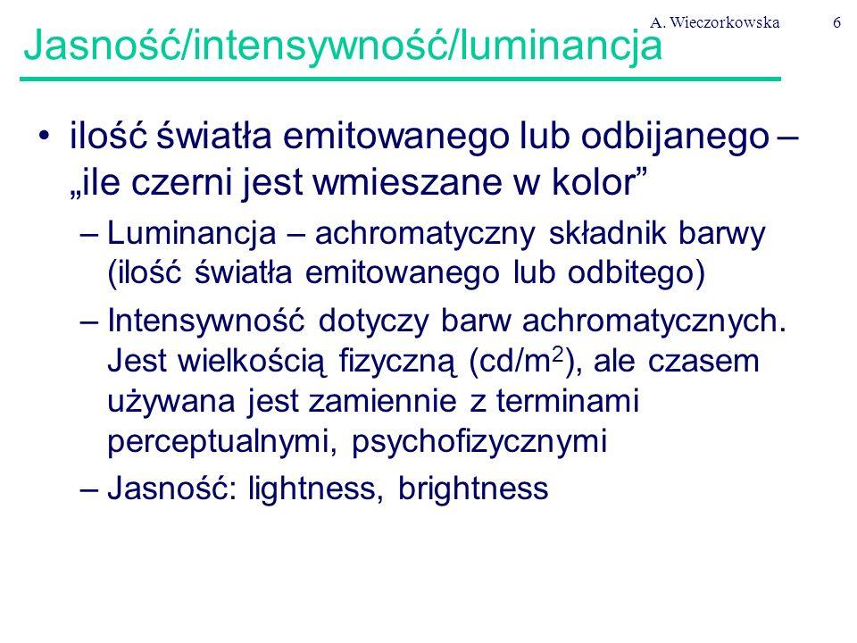 """A. Wieczorkowska6 Jasność/intensywność/luminancja ilość światła emitowanego lub odbijanego – """"ile czerni jest wmieszane w kolor"""" –Luminancja – achroma"""