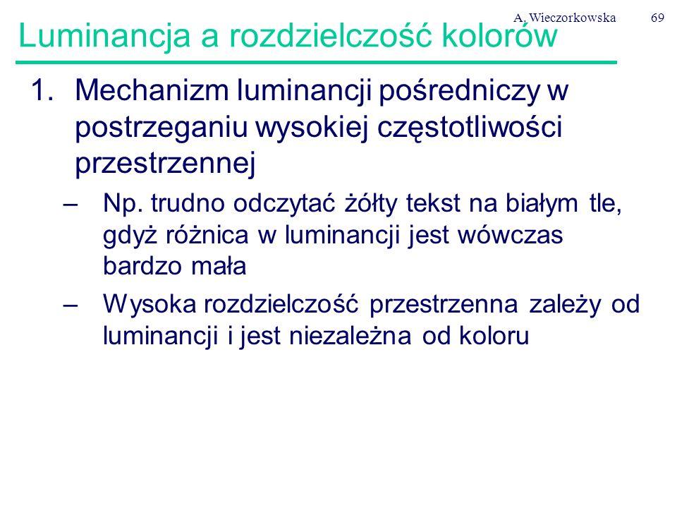 A. Wieczorkowska69 Luminancja a rozdzielczość kolorów 1.Mechanizm luminancji pośredniczy w postrzeganiu wysokiej częstotliwości przestrzennej –Np. tru