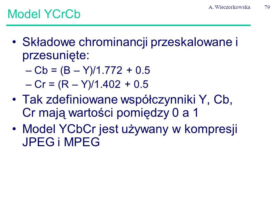A. Wieczorkowska79 Model YCrCb Składowe chrominancji przeskalowane i przesunięte: –Cb = (B – Y)/1.772 + 0.5 –Cr = (R – Y)/1.402 + 0.5 Tak zdefiniowane