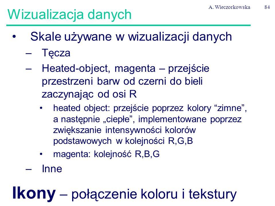 A. Wieczorkowska84 Wizualizacja danych Skale używane w wizualizacji danych –Tęcza –Heated-object, magenta – przejście przestrzeni barw od czerni do bi