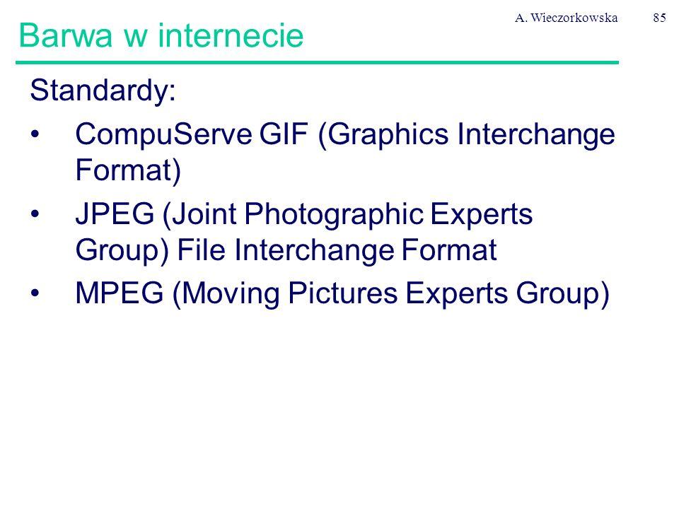 A. Wieczorkowska85 Barwa w internecie Standardy: CompuServe GIF (Graphics Interchange Format) JPEG (Joint Photographic Experts Group) File Interchange