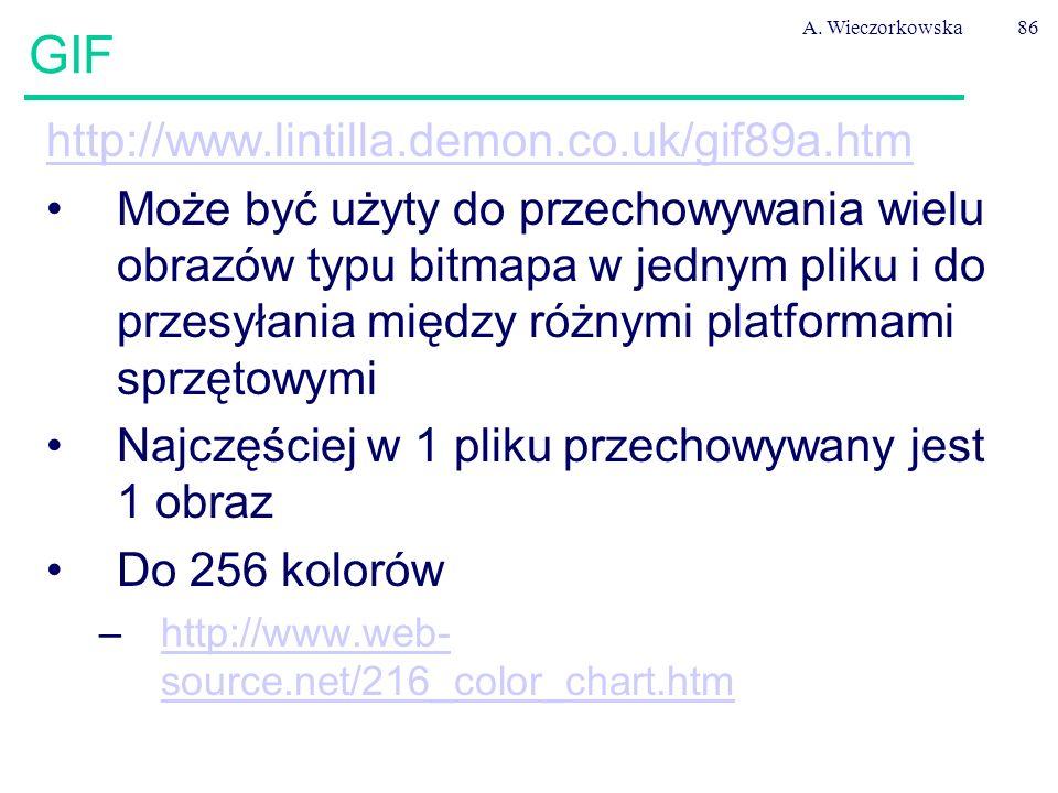 A. Wieczorkowska86 GIF http://www.lintilla.demon.co.uk/gif89a.htm Może być użyty do przechowywania wielu obrazów typu bitmapa w jednym pliku i do prze