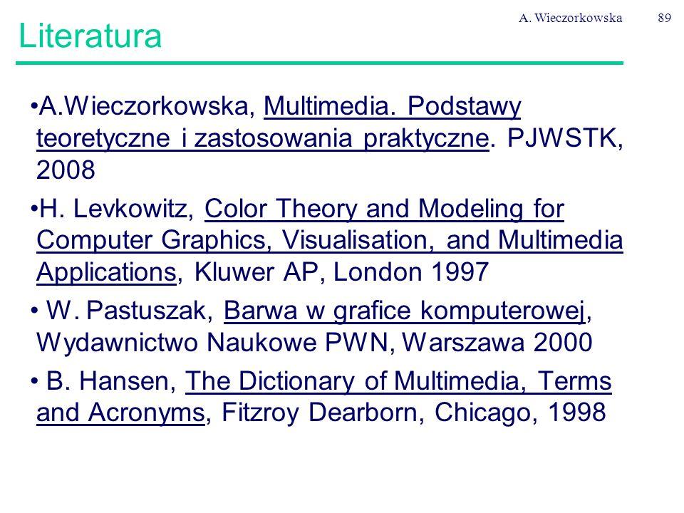 A. Wieczorkowska89 Literatura A.Wieczorkowska, Multimedia. Podstawy teoretyczne i zastosowania praktyczne. PJWSTK, 2008 H. Levkowitz, Color Theory and