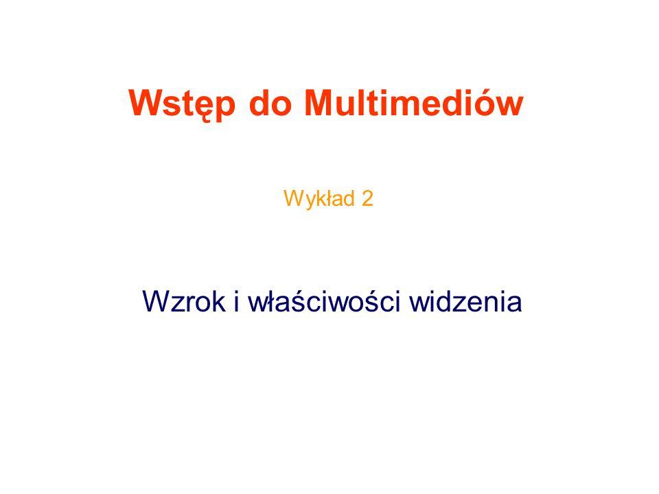 Wstęp do Multimediów Wzrok i właściwości widzenia Wykład 2