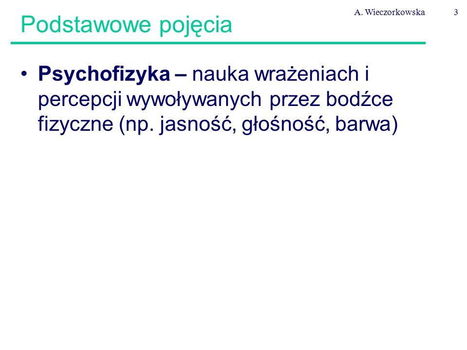 A. Wieczorkowska3 Psychofizyka – nauka wrażeniach i percepcji wywoływanych przez bodźce fizyczne (np. jasność, głośność, barwa) Podstawowe pojęcia