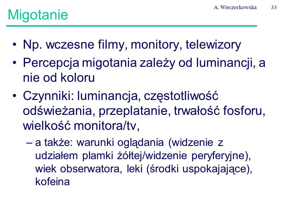 A. Wieczorkowska33 Migotanie Np. wczesne filmy, monitory, telewizory Percepcja migotania zależy od luminancji, a nie od koloru Czynniki: luminancja, c