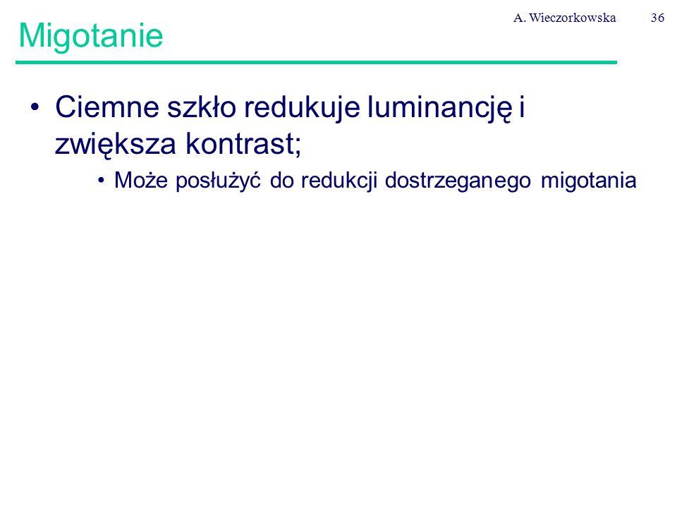 A. Wieczorkowska36 Migotanie Ciemne szkło redukuje luminancję i zwiększa kontrast; Może posłużyć do redukcji dostrzeganego migotania