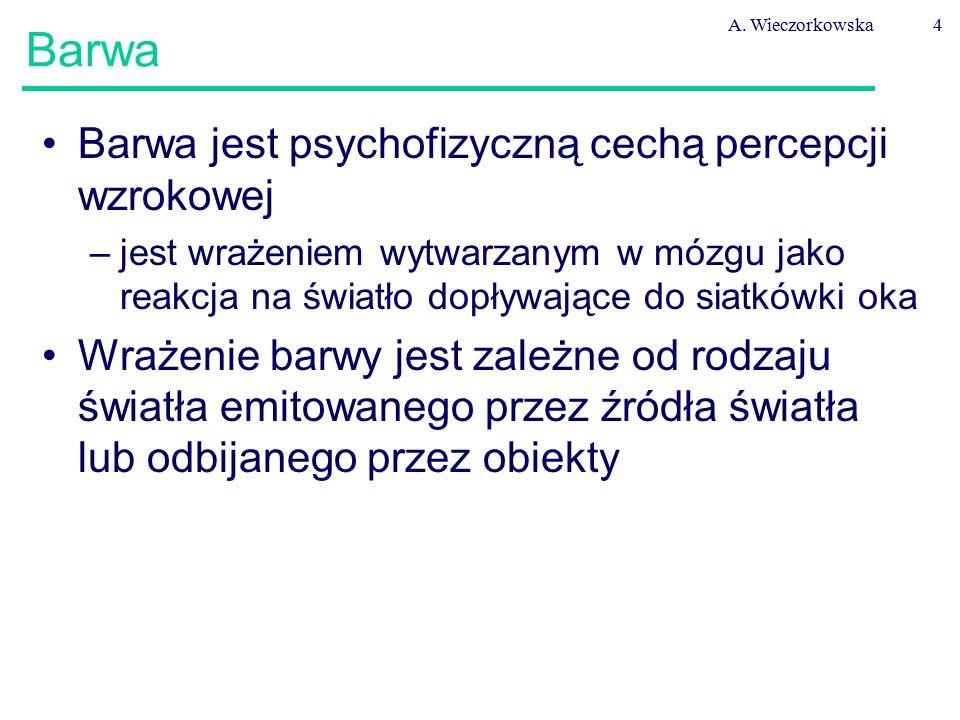 A. Wieczorkowska4 Barwa Barwa jest psychofizyczną cechą percepcji wzrokowej –jest wrażeniem wytwarzanym w mózgu jako reakcja na światło dopływające do