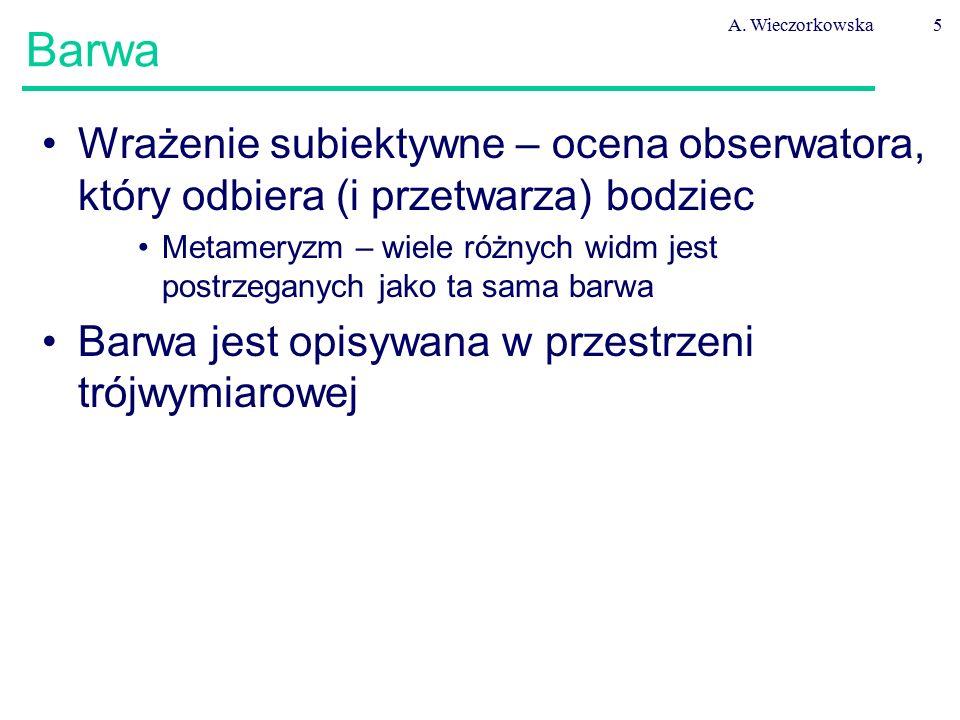 A. Wieczorkowska5 Barwa Wrażenie subiektywne – ocena obserwatora, który odbiera (i przetwarza) bodziec Metameryzm – wiele różnych widm jest postrzegan